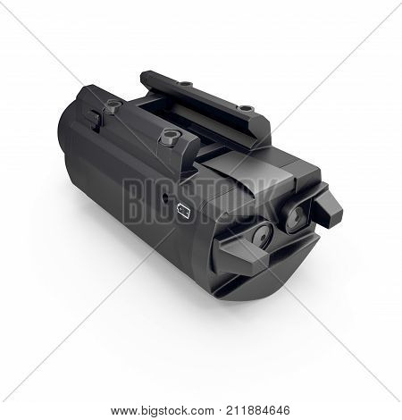 LED Tactical Weapon Light on white background. 3D illustration