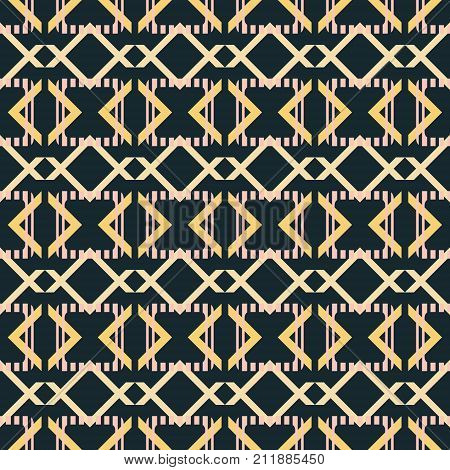 Abstract seamless pattern in blue-black, yellow, dusty pink colors. Striped rounded corners squares with crossed V shaped geometric elements