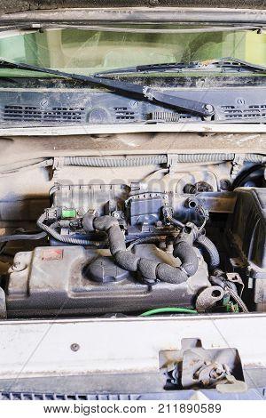 car engine compartment close up
