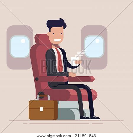 Businessman or manager flies in an airplane. Passenger man character sitting in chair and relax in business class. Vector flat cartoon illustration