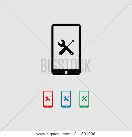 Smartphone with menu and tools icon on the big touch screen. Vector illustration.