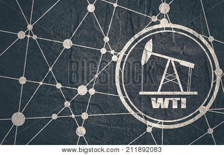Oil pump icon and WTI crude oil name. Energy and power relative backdrop. Molecule and communication style background. Connected lines with dots. Grunge concrete texture