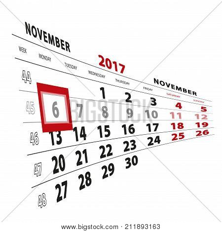 6 November Highlighted On Calendar 2017. Week Starts From Monday.