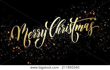 Merry Christmas Greeting Card Vector Golden Firework Sparkling Confetti New Year Background