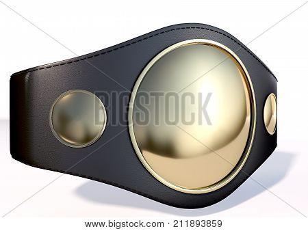 A 3D illustration of gold championship belt.