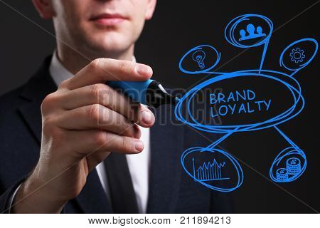 Business, Technology, Internet And Network Concept. Young Business Man Writing Word: Brand Loyalty