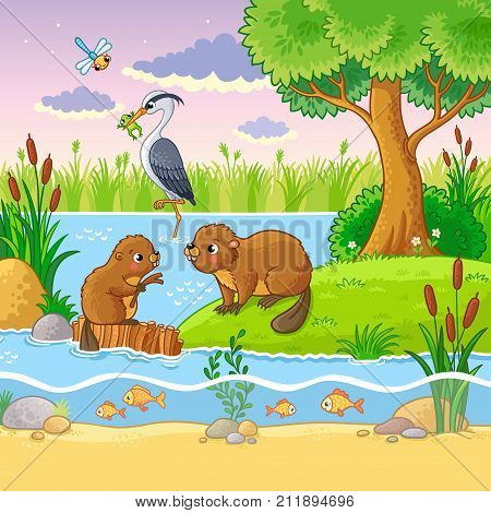 Vector Set With Animals And Nature In A Children's Style.