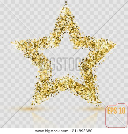 Golden Glitter Star Of Many Small Stars Vector Banner On White B