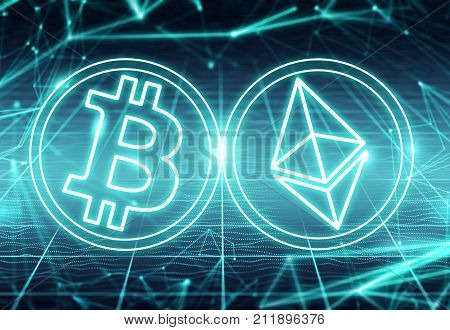 Clash of Bitcoin and Ethereum  symbols on abstract blue background. Competing cryptocurrencies concept.