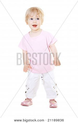 Cute Baby Girl Looking Up Isolated On White