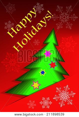 Greeting card with abstract christmas tree and snowflakes on a red background