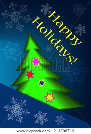 Greeting card with abstract christmas tree and snowflakes on a blue background