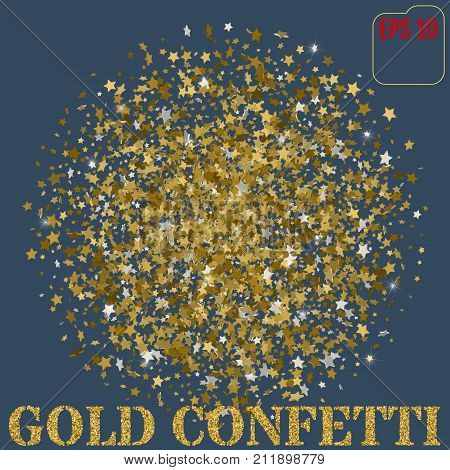 Gold Sparkles On White Background. Gold Stars Glitter Background