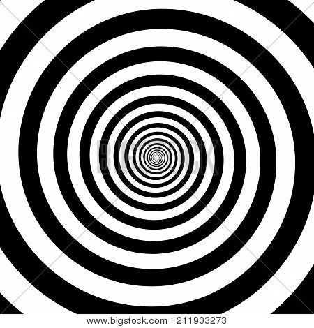 Hypnotic Circles Abstract White Black Optical Illusion Vector Spiral Swirl Pattern Background