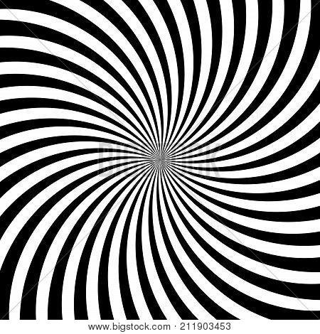 Hypnotic Swirl Lines Abstract White Black Optical Illusion Vector Vortex Pattern Background