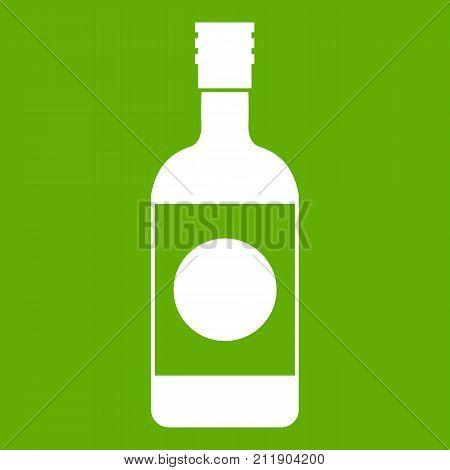 Japanese sake icon white isolated on green background. Vector illustration