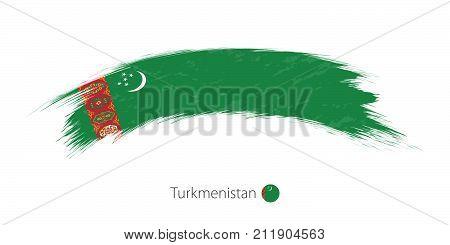 Flag Of Turkmenistan In Rounded Grunge Brush Stroke.