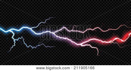 Lightning electric thunder storm light flash. Vector realistic lightning rain weather thunderbolt on black transparent background. Neon color energy electricity light flash or spark burst effect poster