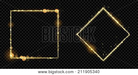 Golden Frame Gold Glitter Light Particles Vector Square Sparkling Black Background