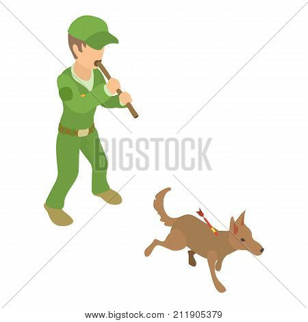 Dog catcher work icon. Isometric illustration of dog catcher work vector icon for web