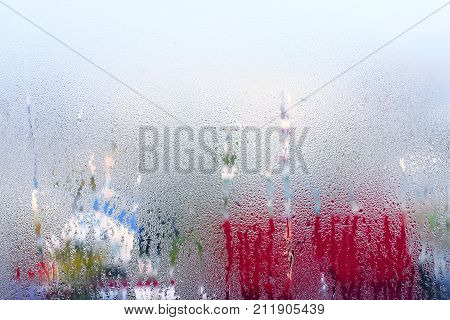 Autumn Mood, Condensation On The Glass, Temperature Drop. Window Glass With Condensation, Strong, Hi