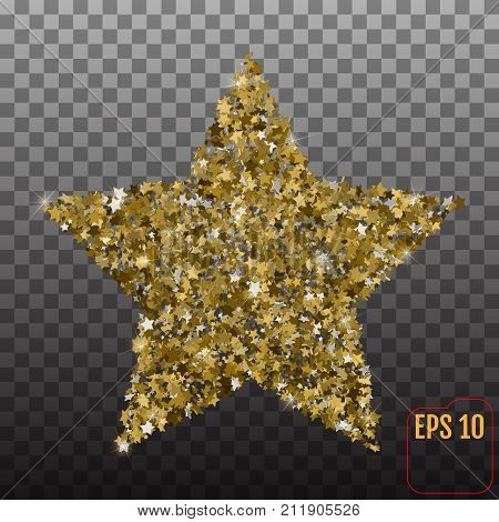 Golden Star Vector Banner On Transparent Background. Gold Glitte