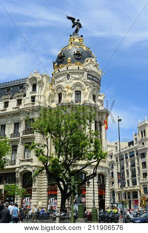 MADRID - JUN. 6, 2013: Metropolis Building Spanish: Edificio Metropolis is one of the most famous Beaux-Arts style landmark. It located at the corner of the Calle de Alcala and Gran Via, Madrid, Spain