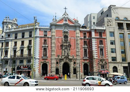 MADRID - JUN. 6, 2013: Barroco style Iglesia de San Jose San Jose Church at the center of Madrid, Spain.