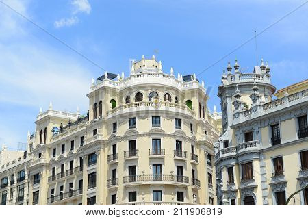 Hotel ADA Palace is a famous Beaux-Arts style landmark of City of Madrid. It located at the corner of the Calle de Alcala and Gran Via, Madrid, Spain.