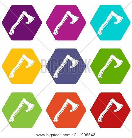 Hatchet icon set many color hexahedron isolated on white vector illustration