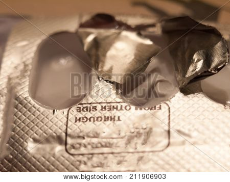 Close Up Of Paracetamol Foil Packet Open Empty Used