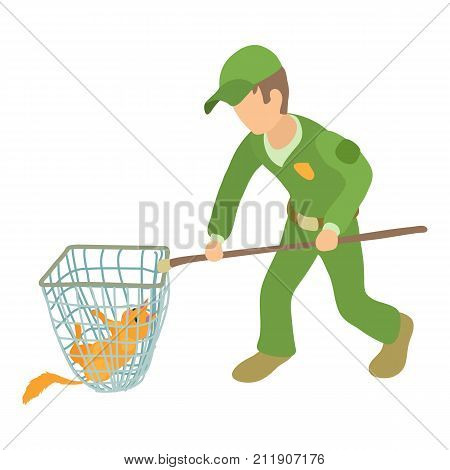 Dog catcher action icon. Isometric illustration of dog catcher action vector icon for web