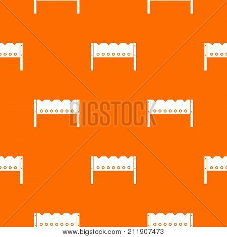 Brazier pattern repeat seamless in orange color for any design. Vector geometric illustration