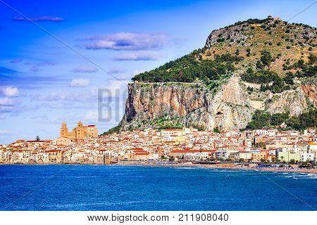 Cefalu Sicily. Ligurian Sea and medieval sicilian city. Province of Palermo Italy.