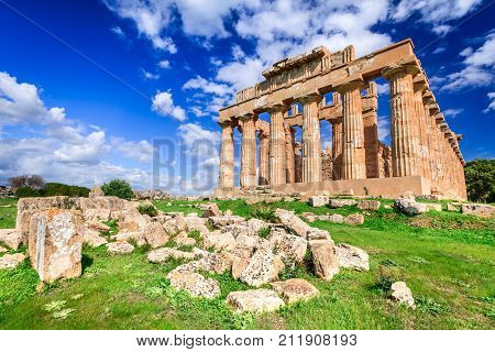 Selinunte was an ancient Greek city on the south-western coast of Sicily in Italy. Temple of Hera ruins of Doric style architecture.