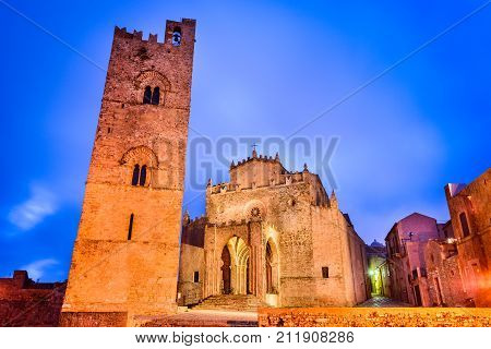 Erice Sicily. Duomo dell'Assunta or Chiesa Madre main church of medieval Erix Italy.