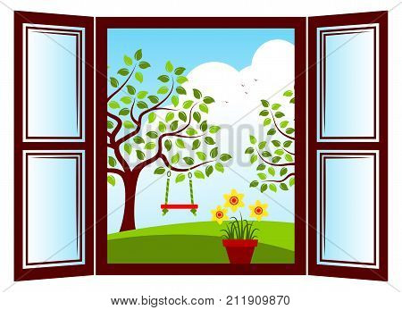 vector daffodils in pot in the window and trees with swing outside the window