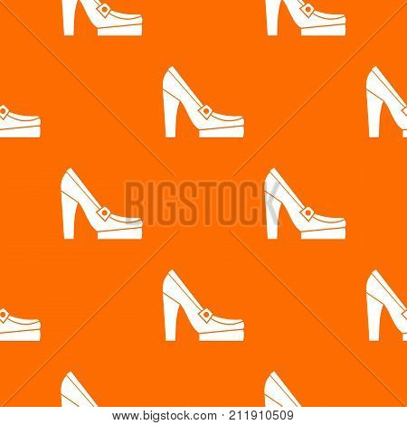 Women shoes on platform pattern repeat seamless in orange color for any design. Vector geometric illustration