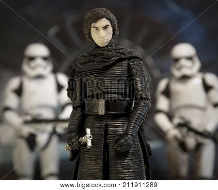 Moody portrait of Kylo Ren flanked by First Order Stormtroopers using Hasbro Black Series action figures - Episode 8: The Last Jedi