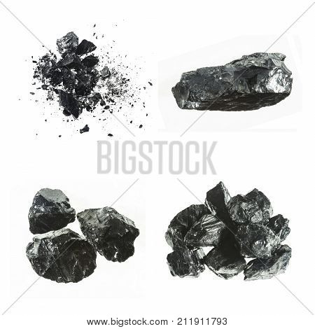 Set of different black coal bars isolated on white background