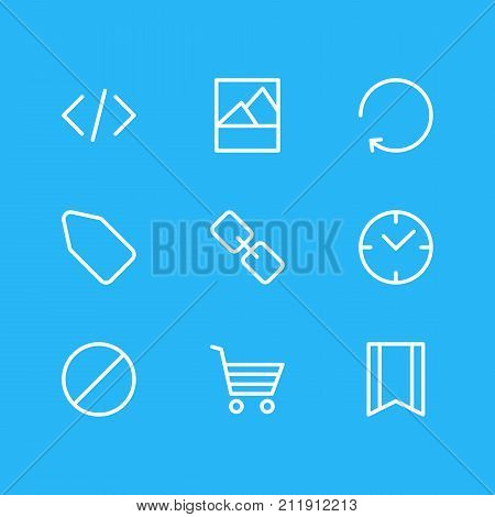 Editable Pack Of Pennant, Url, Picture And Other Elements.  Vector Illustration Of 9 App Icons.