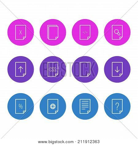 Editable Pack Of Percent, Search, File And Other Elements.  Vector Illustration Of 12 File Icons.