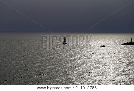Beautiful photo of a sea landscape with silver water and waves