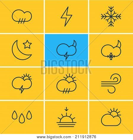 Editable Pack Of Weather, Lightning, Windstorm And Other Elements.  Vector Illustration Of 12 Weather Icons.