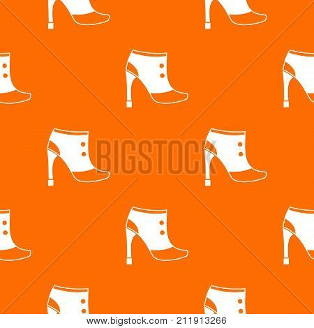 Women boots pattern repeat seamless in orange color for any design. Vector geometric illustration