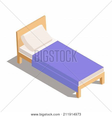 Vector Bed in Isometric. Single Wooden Bed. Bedroom furniture: a bed with blanket and pillow. Vector illustration isolated from background