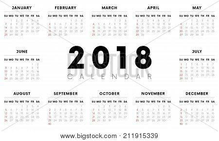 Calendar 2018. Weeks start with Sunday. Vector illustration.