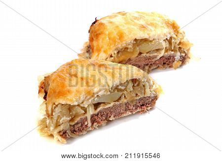 Ground Meat Covered With Onions And Melted Cheese