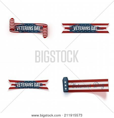 Veterans Day curved Ribbons Set. Vector Illustration