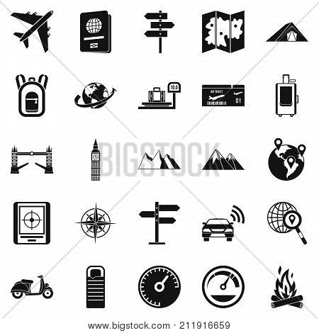 Abroad icons set. Simple set of 25 abroad vector icons for web isolated on white background